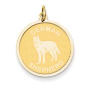 14k Yellow Gold German Shepard Disc Charm