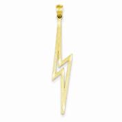 14k Yellow Gold Polished D/C Lightning Bolt Charm Pendant