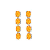 UBER57AGCT Rhodium Plating 925 Sterling Silver Oval Citrine Drop Earrings Eight Carat Total Gem Weight