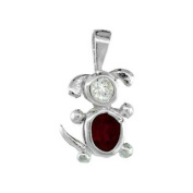 Sterling Silver Birthstone Dog Brat Charm July Ruby Colour Cubic Zirconia