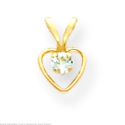 14K Gold March Heart Childrens Birthstone Necklace 38cm