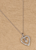 Ivy Lane Design Flower Girl Heart Necklace, Silver chain
