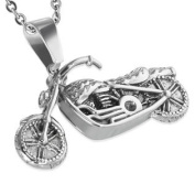 Stainless Steel Silver-Tone Motorcycle Bike Biker Pendant Necklace