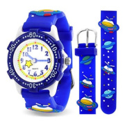 Blue Spaceship Planet Kids Watch Stainless Steel Back Analogue
