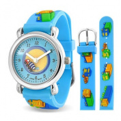Blue Boys Trucks Analogue Kids Watch Stainless Steel Back Photo Dial