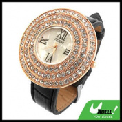 Fashion Jewellery Helix Hat Black Leather WristWatch