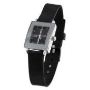 Black Band Arabic Numerals Display Wrist Watch for Women Girls