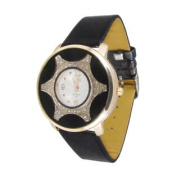 Women Black Perforated Band Button Adjustable Gold Tone Rim Decor Wristwatch