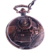 Pocket Watch Quartz Movement Railroad Engraved Case Arabic Numerals with Chain Full Hunter Vintage Design PW-31