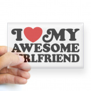 CafePress I Love My Awesome Girlfriend Sticker Rectangle - 3x5 Clear