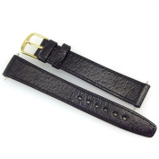 16mm Black Textured Leather Replacement Watch Strap / Band with Gold Tone Buckle