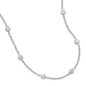 9 Inch+1 Inch Extention Rhodium Plated 6 Bezel Set CZ Anklet - 4mm Czs a Spring Ring Clasp - 9 Inch