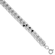 Sterling Silver Charm Bracelet with Teeny Polished Hearts fits 20cm - 23cm wrists