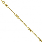 Alternating Cable Chain Link Ankle Bracelet 14k Yellow Gold