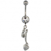 Surgical Steel Barbell Dangle Heart Belly Button Ring w/ Crystals, 3.5cm