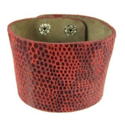 Red Leather Snakeskin Texture Wristband Bracelet