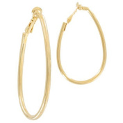 Ky & Co Clip On Earrings Gold Tone Hoop Loop Made In USA Large 5.7cm