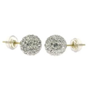 S-02 14K Gold White. Crystal Element Stud Earrings With Silicon Back