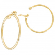 Ky & Co Gold Tone Clip On Hoop Earrings Made In USA 3.8cm
