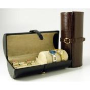 Budd Leather 544266CR-1 Croco Calf Travel Jewel Roll Black