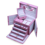 Pink Leather Jewellery Box with mini Travel Case and Lock
