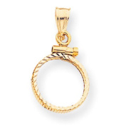 14k Screw Top 20 Old Us Coin Bezel Mounting, Best Quality Free Gift Box Satisfaction Guaranteed - Base Only, No Stones