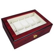 Rose Wood Matte Stain Glass Top Wooden 12 Watch Display Case with Gold Plated Hardware