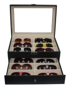 12 Piece Black Carbon Fibre Eyeglass Display Case for Oversized Sunglasses & Glasses Watch Organiser Collector Box