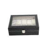 America Phoenix 10 Grids Watch Display Jewellery Case Box Storage Holder Leather, Glass Top Jewellery Case Organiser
