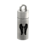 Stainless Steel Angel Wings Cylinder Stash Pendant Pill Case Vial