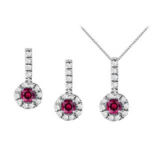 UBUNERPD31791W14CZR400 July Birthstone Ruby with CZ Halo Earrings and Pendant in 14K White Gold