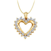UBNPD30485AGVYCZ April birthstone CZ Heart Pendant Sterling Silver with Yellow Gold Vermeil 0.50 CT TGW