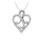 UBNPD32324AGCZ April birthstone Cubic Zirconia Fancy Heart Pendant in Sterling Silver 0.25 CT TGW