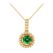 UBUNPD31781AGVYCZE600 Fancy Round Cubic Zirconia and Emerald Pendant in Yellow Gold Vermeil over Sterling Silver