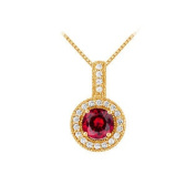 UBUNPD32336AGVYCZR600 Fancy Round Ruby and Cubic Zirconia Halo Pendant in 14K Yellow Gold Vermeil over Sterling Silver