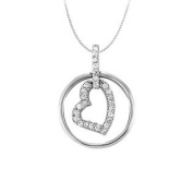 UBNPD31789AGCZ April birthstone Cubic Zirconia Heart Pendant in Sterling Silver 0.15 CT TGW Valentine Day Gift