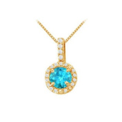 UBUNPD31481AGVYCZBT600 Fancy Round Created Blue Topaz and Cubic Zirconia Halo Pendant in Gold Vermeil over Ster