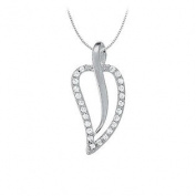 UBNPD31513AGCZ Cubic Zirconia Leaf Shaped Pendant in Sterling Silver 0.25 CT TGWPerfect Jewellery Gift