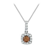 UBNPD32366AGCZSQ600 Fancy Square Smoky Quartz and Cubic Zirconia Halo Pendant in Sterling Silver