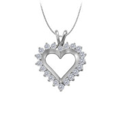 UBNPD30453AGCZ April birthstone Cubic Zirconia Heart Pendant in Sterling Silver 1 CT TGW