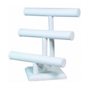 MW-MM Jewellery Supplies Leatherette 3-Tier T Bar White