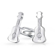 Bling Mens Music Instrument Acoustic Guitar Cufflinks Stainless Steel Plated