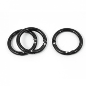 3 Pcs Spring Loaded Gate 3.8cm Dia Round Carabiner Hook Keychain Black