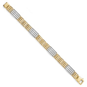 Italian 11.25mm Brushed Link 14K Two Tone Gold Bracelet, 8.25 Inch
