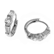 Sterling Silver White Cubic Zirconia Huggie Earring