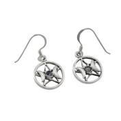 Sterling Silver Moonstone Triple Goddess Pentacle Earrings