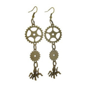 Antique Bronze Finish Steampunk Gear and Octopus Dangle Earrings