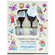 4 Piece Children's Ceramic Handled Cutlery Set - CUP CAKE FAIRY