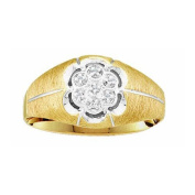 10k Yellow Gold 0.02 CTW Diamond Cluster Mens Ring