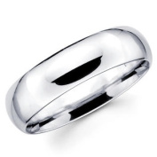 14K Solid White Gold 6mm Comfort Fit Men's and Women's Wedding Band Ring - Size 7